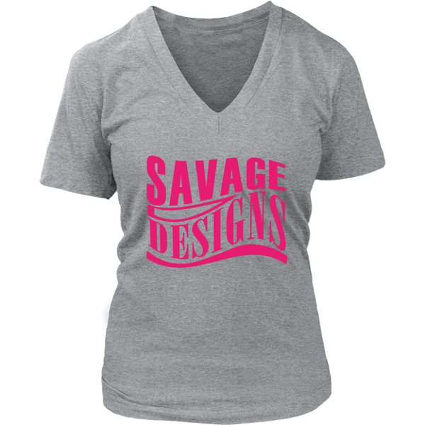 Savage Designs Warped Curve Hot Pink V-Neck- 10 Colors