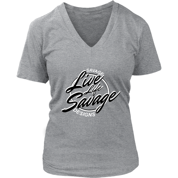 Savage Designs Live Life Savage Calligraphy Black/White V-Neck- 11 Colors