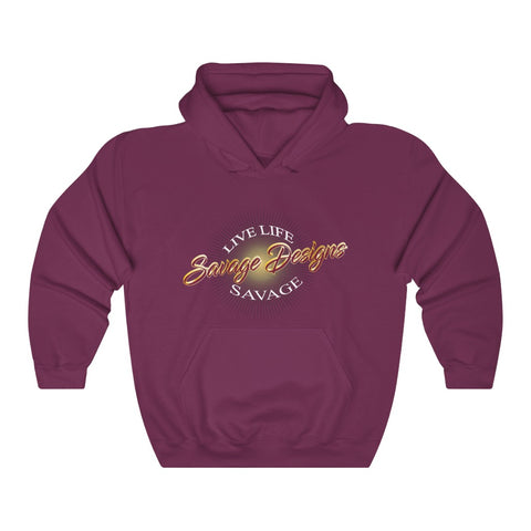Savage Designs Sunray Flare Maroon and Gold Hoodie- 1 Color