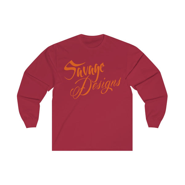 Savage Designs Cursive Script Orange Long Sleeve- 3 Colors