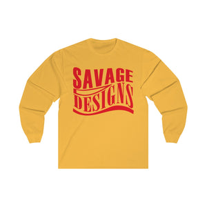Savage Designs Warped Curve Red Long Sleeve- 3 Colors