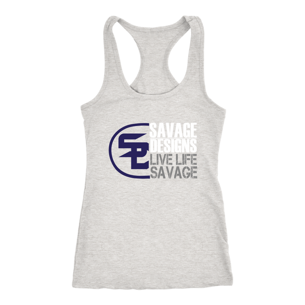 Savage Designs Sliced Up Navy/White/Grey Tank Top- 9 Colors