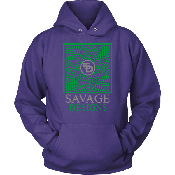 Savage Designs Optical Illusion Green/Grey Hoodie- 5 Colors