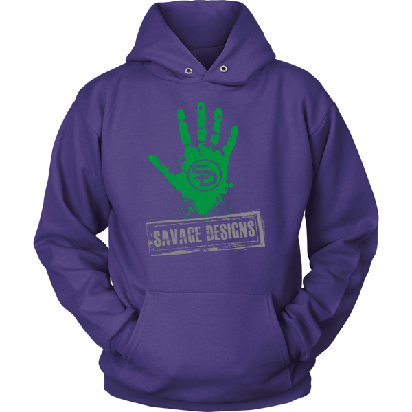 Savage Designs Handprint Stamp Green/Grey Hoodie- 7 Colors