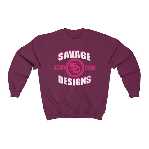 Savage Designs Dead Focus White/Hot Pink Sweatshirt- 2 Colors