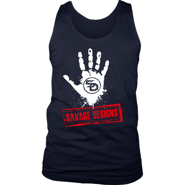 Savage Designs Handprint Stamp White/Red Tank Tops- 6 Colors