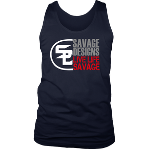 Savage Designs Sliced Up White/Grey/Red Tank Top- 8 Colors