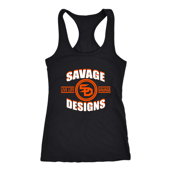 Savage Designs Dead Focus White/Orange Tank Top- 8 Colors