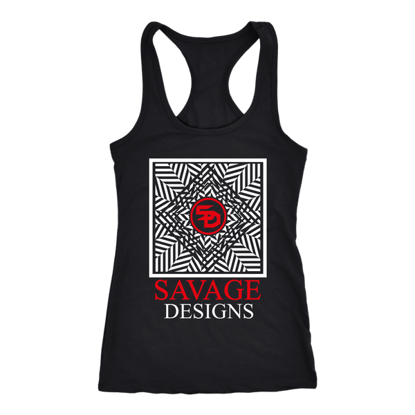 Savage Designs Optical Illusion White/Red Tank Top- 6 Colors