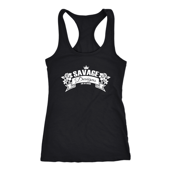 Savage Designs Royal Blossom White Tank Top- 12 Colors