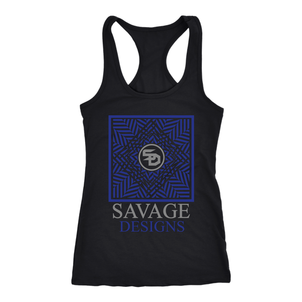 Savage Designs Optical Illusion Royal Blue/Grey Tank Top- 5 Colors