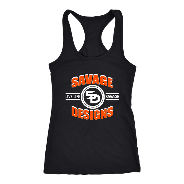 Savage Designs Dead Focus Orange/White Tank Top- 8 Colors