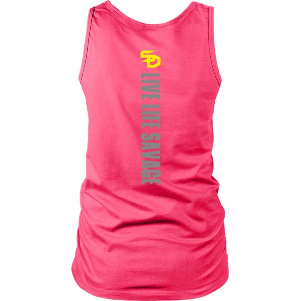 Savage Designs Original Symbol/Live Life Savage Front and Back Print Tank Top- 8 Colors