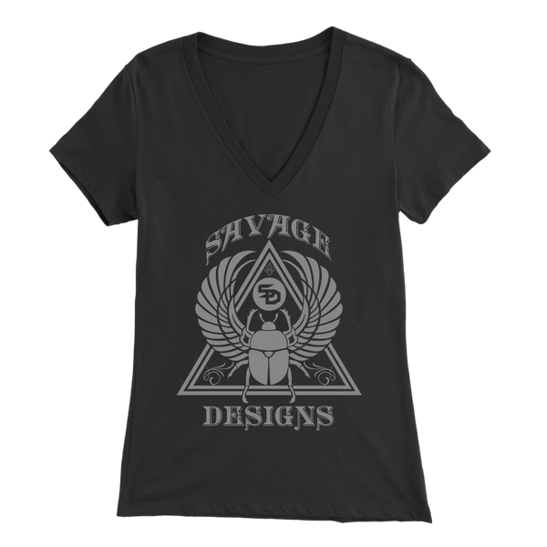 Savage Designs Eygptian Scarab Bettle Grey V-Neck- 9 Colors