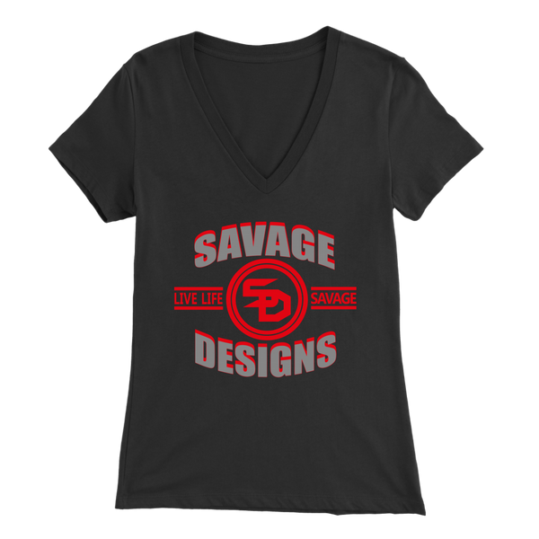 Savage Designs Dead Focus Grey/Red V-Neck- 8 Colors