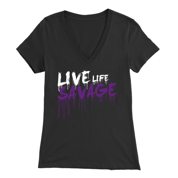 Live Life Savage Paint Drip White/Purple V-Neck- 7 Colors