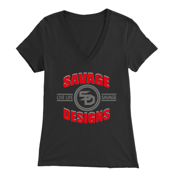 Savage Designs Dead Focus Red/Grey V-Neck- 6 Colors