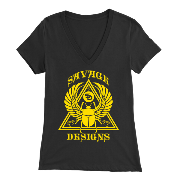 Savage Designs Eygptian Scarab Bettle Yellow V-Neck- 10 Colors