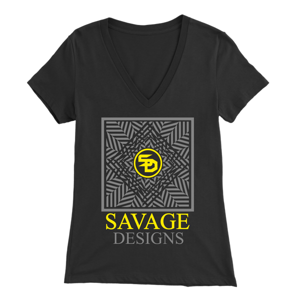 Savage Designs Optical Illusion Grey/Yellow V-Neck- 9 Colors