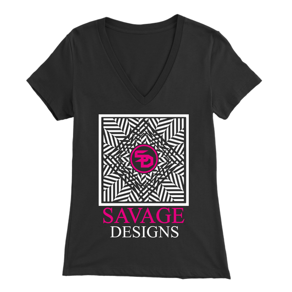 Savage Designs Optical Illusion White/Hot Pink V-Neck- 9 Colors