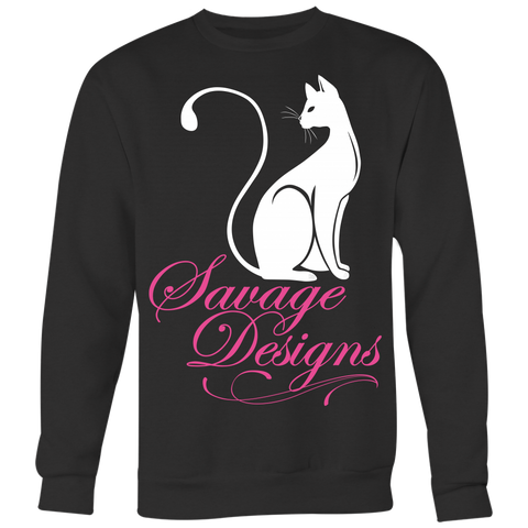 Savage Designs Lady Kitten White/Pink Sweatshirt- 5 Colors