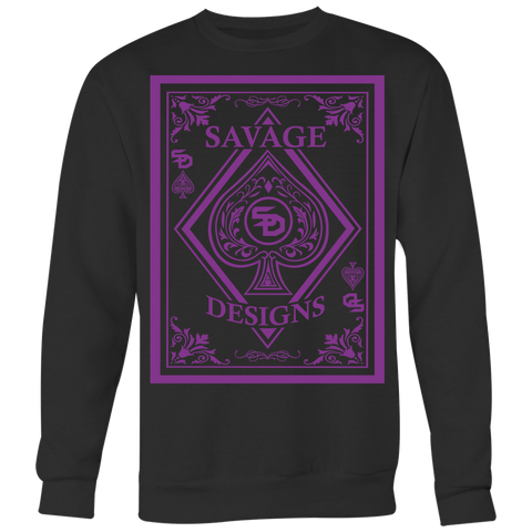 Savage Designs Ace of Spade Purple Sweatshirts- 5 Colors