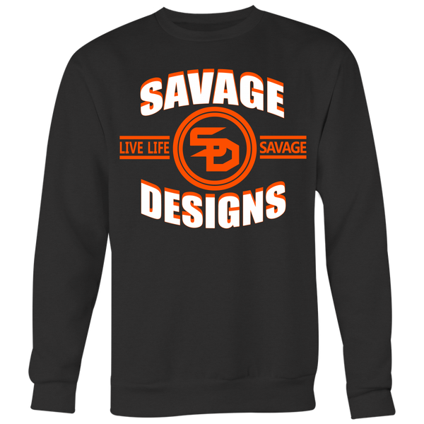 Savage Designs Dead Focus White/Orange Sweatshirt- 8 Colors