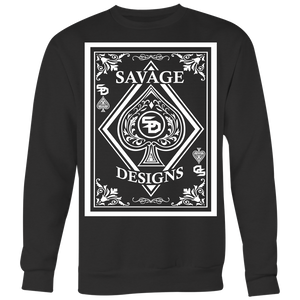 Savage Designs Ace of Spade White Sweatshirt- 8 Colors