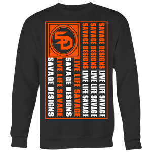 Savage Designs Flag Orange/White Sweatshirt- 7 Colors