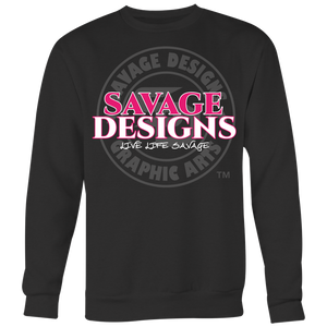 Savage Designs Faded Symbol Hot Pink/White/Grey Sweatshirt- 6 Colors