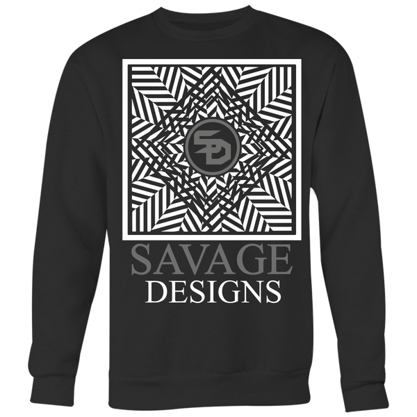 Savage Designs Optical Illusion White/Grey Sweatshirt- 6 Colors