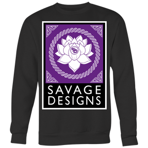 Savage Designs Lotus Flower Purple/White/Black Sweatshirt- 6 Colors