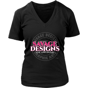 Savage Designs Faded Symbol Hot Pink/White/Grey V-Neck- 7 Colors