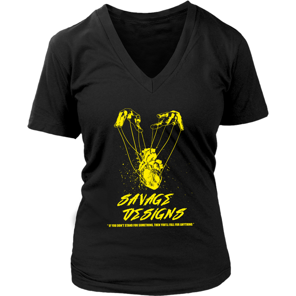Savage Designs Heart Strings Yellow V-Neck- 10 Colors
