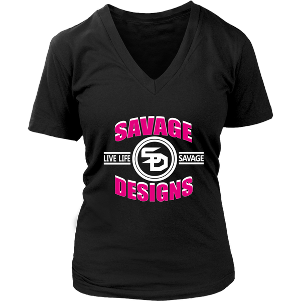 Savage Designs Dead Focus Hot Pink/White V-Neck- 10 Colors