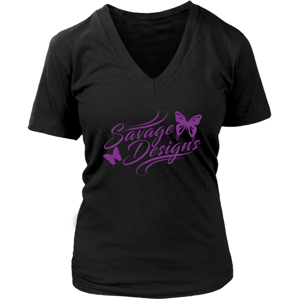 Savage Designs Butterfly Elegance Purple V-Neck- 6 Colors
