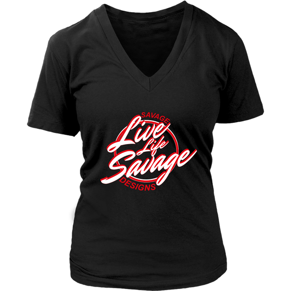Savage Designs Live Life Savage Calligraphy White/Red V-Neck- 10 Colors