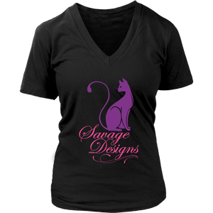 Savage Designs Lady Kitten Purple/Pink V-Neck- 5 Colors