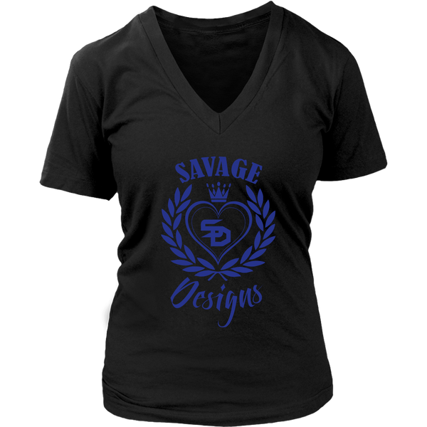 Savage Designs Heart of Hearts Royal Blue V-Neck- 8 Colors