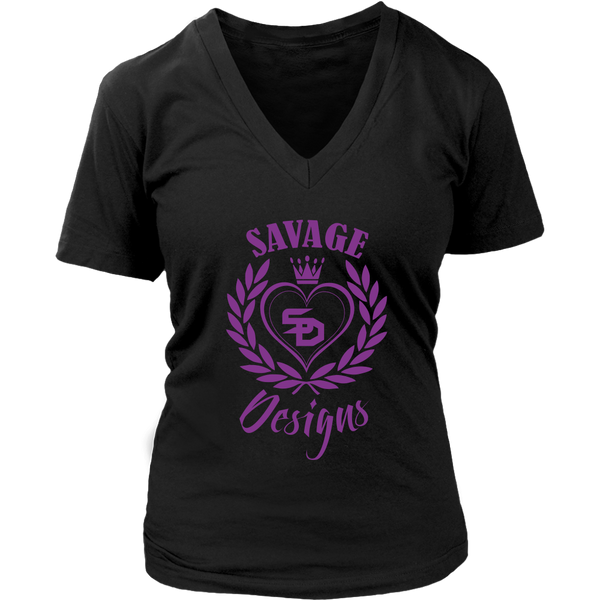 Savage Designs Heart of Hearts Purple V-Neck- 6 Colors