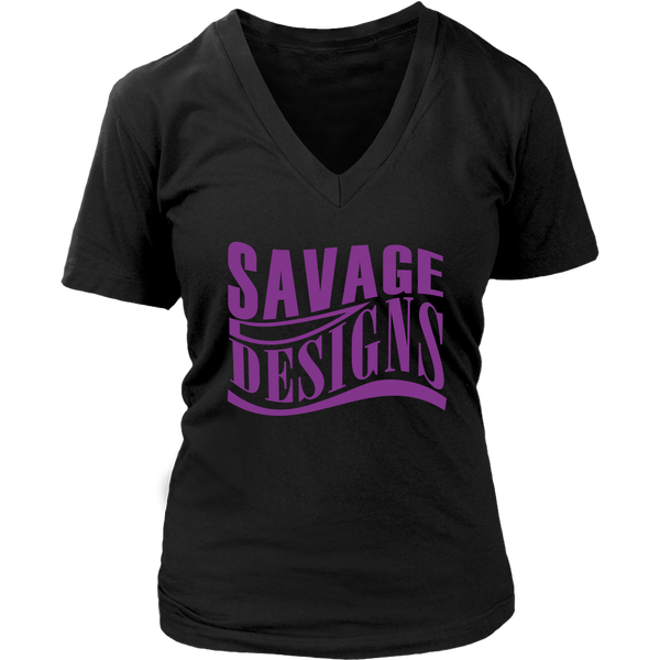 Savage Designs Warped Curve Purple V-Neck- 8 Colors