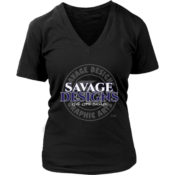 Savage Designs Faded Symbol White/Navy/Grey V-Neck- 9 Colors