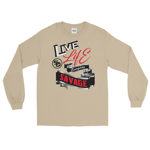Live Life Everyday Savage White/Black/Red/Silver Long Sleeve- 2 Colors