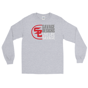Savage Designs Sliced Up Red/Grey/White Long Sleeve- 4 Colors