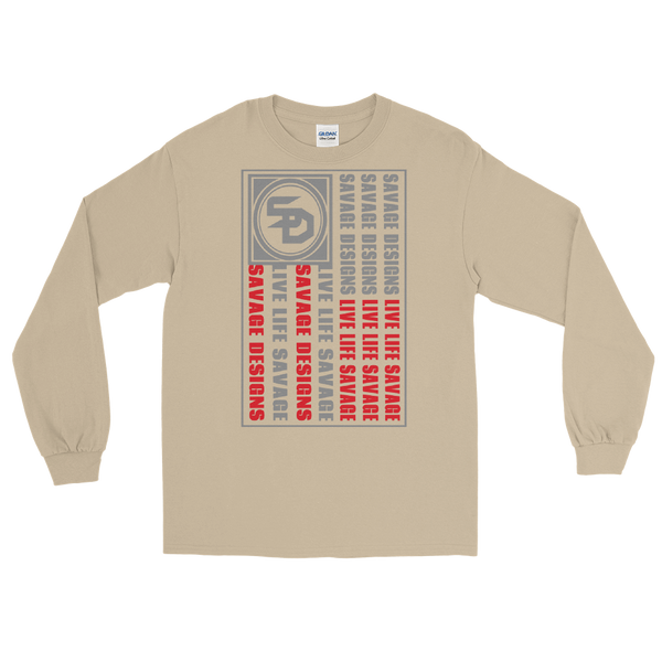 Savage Designs Flag Grey/Red Long Sleeve- 5 Colors