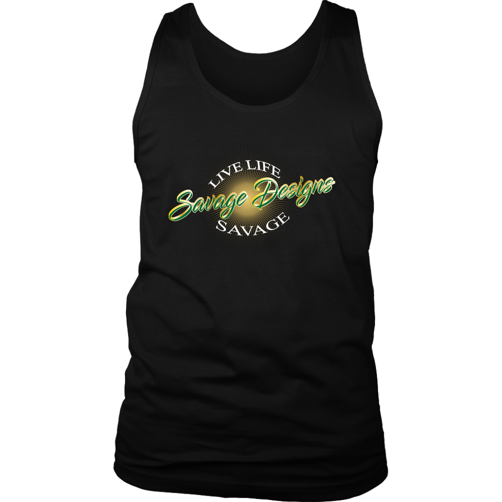 Savage Designs Sunray Flare Green and Gold Tank Top- 12 Colors
