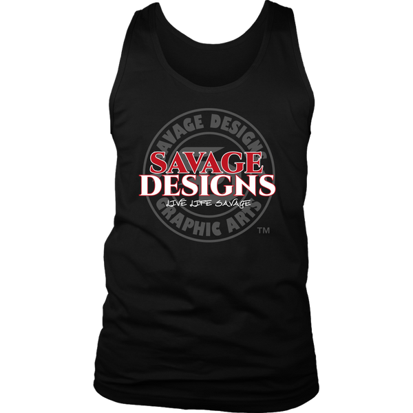 Savage Designs Faded Symbol Red/White/Grey Tank Top- 7 Colors