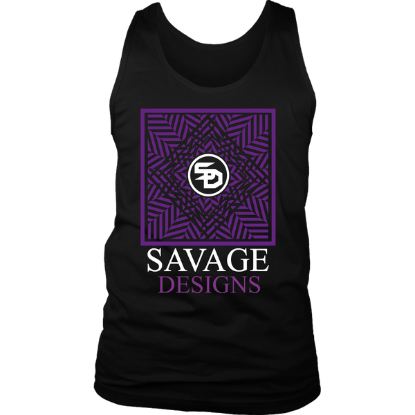 Savage Designs Optical Illusion Purple/White Tank Top- 4 Colors