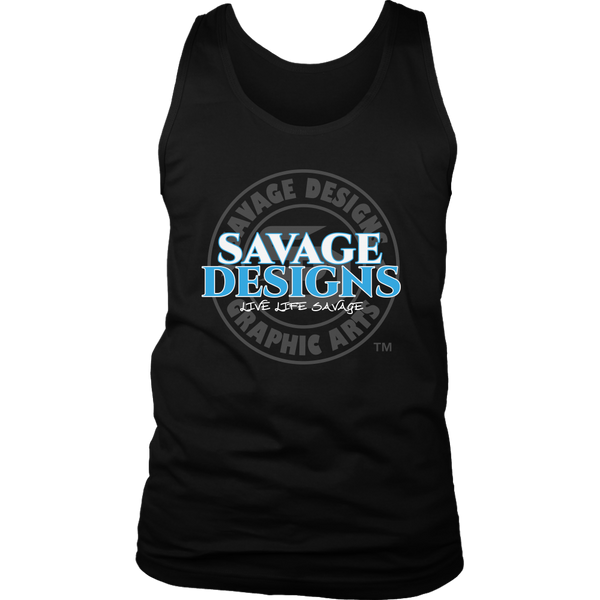 Savage Designs Faded Symbol White/Turquoise/Grey Tank Top- 7 Colors