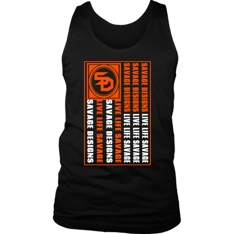 Savage Designs Flag Orange/White Tank Top- 7 Colors